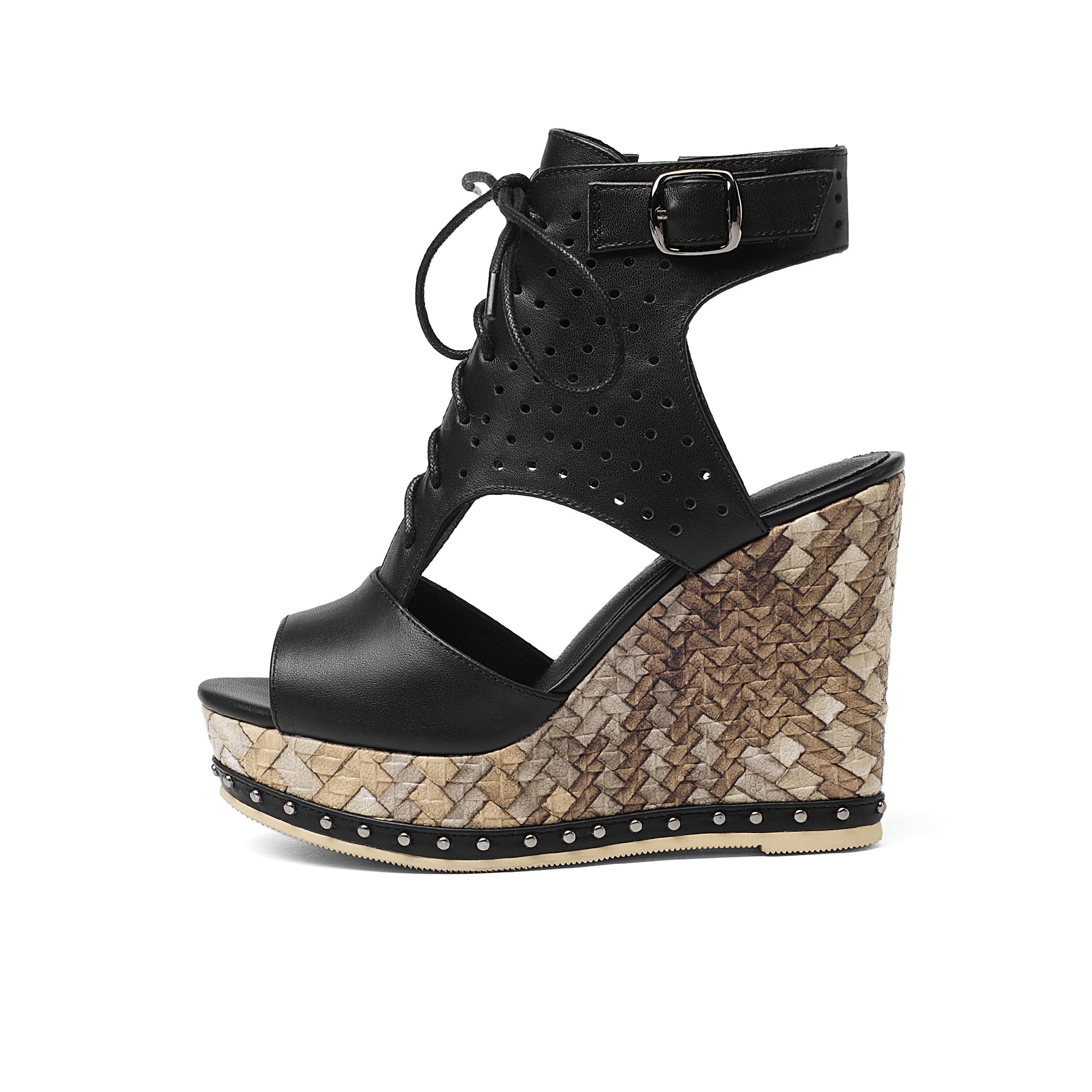 588ef5241bbe US  60 - Arden Furtado 2018 summer high heels 11cm wedges platform peep toe  ankle strap gladiator genuine leather sandals shoes for woman ...