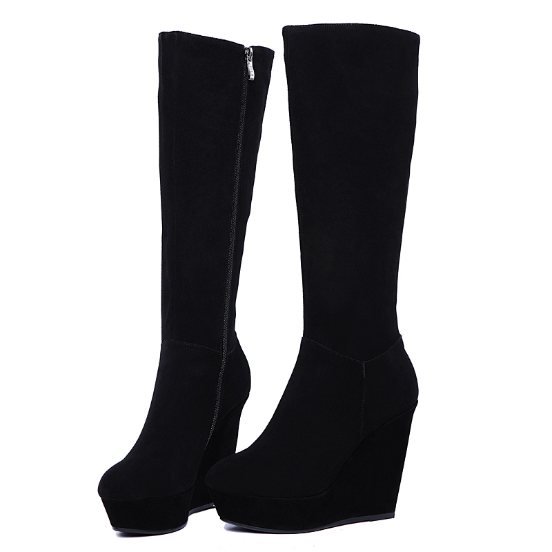 e4b06e5758f platform high heels 10cm genuine leather knee high boots black brown wedges  sexy boots winter boots