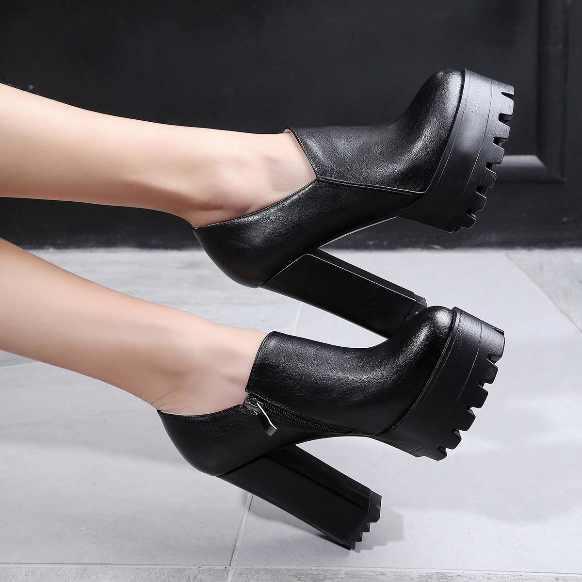 b625186f168 Black Mary Jane zipper Pumps 4 Inches Chunky Heels for Women platform  women's shoes big size small size 32 33