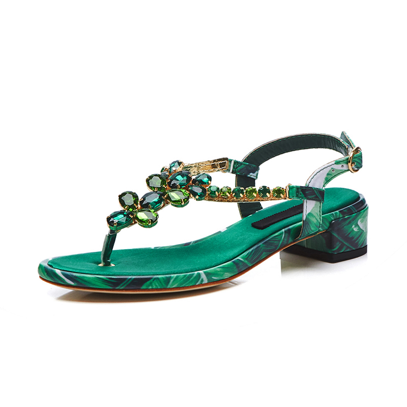 US  60 - Arden Furtado 2018 summer fashion flat sandals crystal flowers  green red green rhinestone flip-flops woman shoes ladies sandals -  www.ardenfurtado. ... 267d04f6e72c