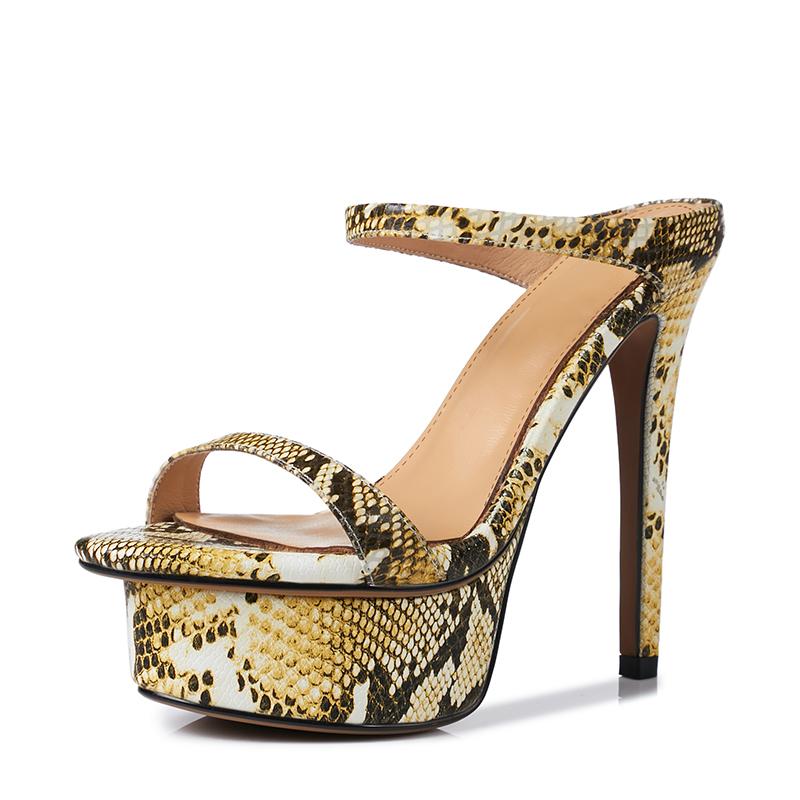 49062e41bff63 US  60 - Arden Furtado 2018 summer extreme high heels 13cm sexy buckle  serpentine slippers genuine leather platform slides small size 33 -  www.ardenfurtado. ...