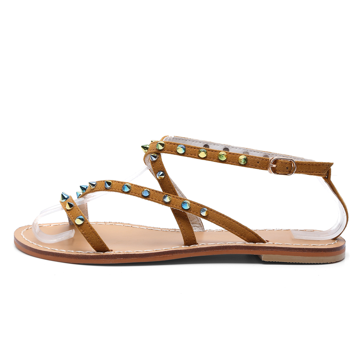 9261b4e90 US  35 - Arden Furtado 2018 summer flats genuine leather buckle strap  fashion casual sandals flat rivets gladiator shoes for woman lady -  www.ardenfurtado. ...