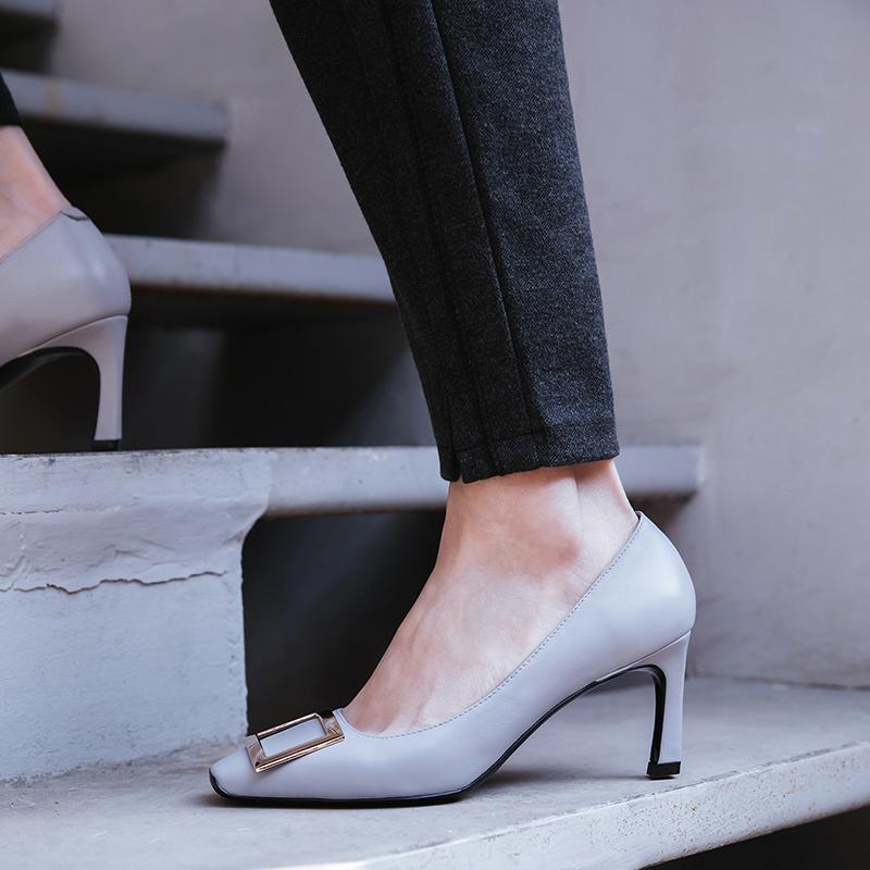 US$ 49 - 2018 autumn winter genuine leather stilettos slip on pumps square toe small size 33 office lady dress shoes - www.ardenfurtado.com
