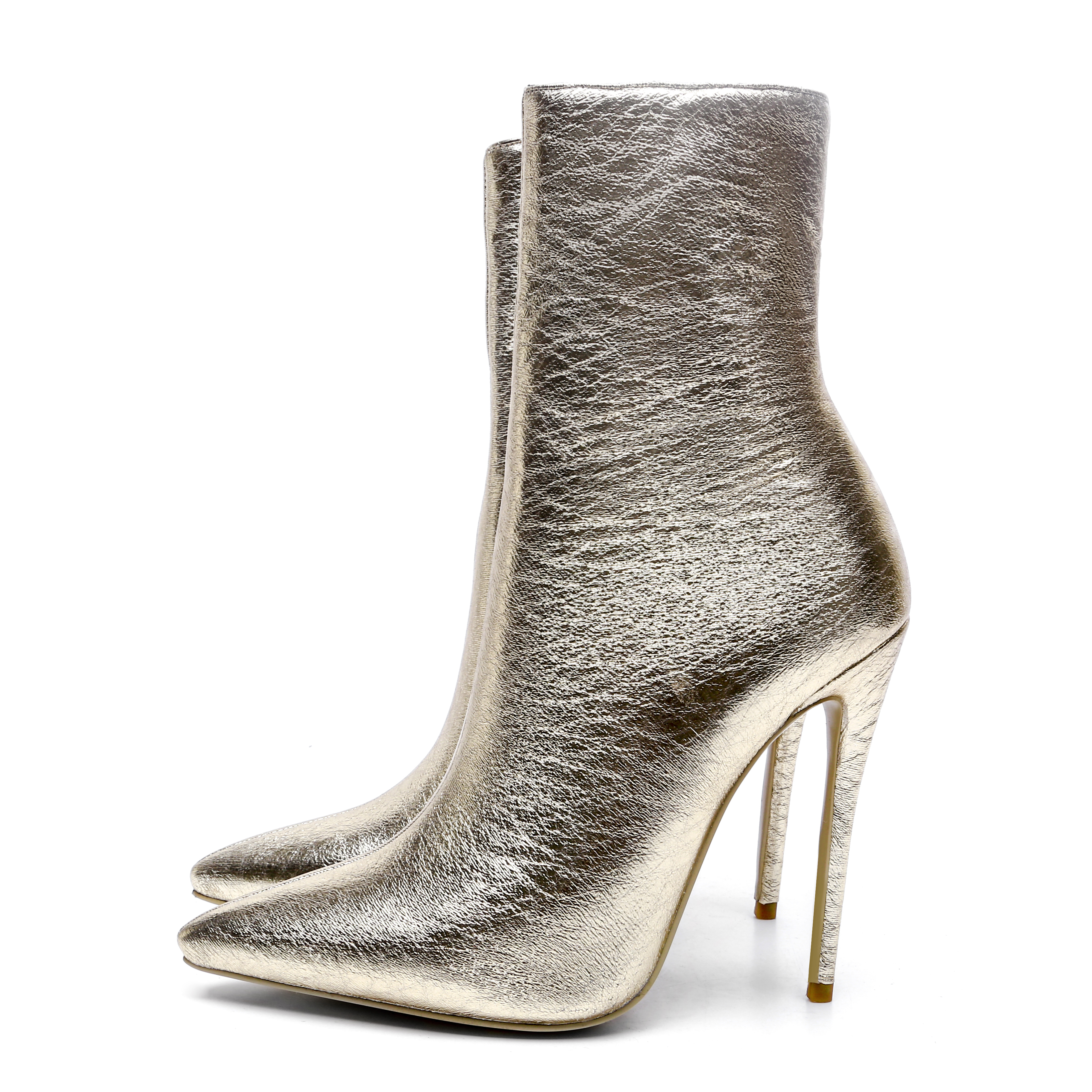 US  58 - 2018 spring autumn zipper ankle boots stilettos high heels 12cm gold  Ankle Booties Pointy Toe Fashion Boots - www.ardenfurtado.com a25577e0c