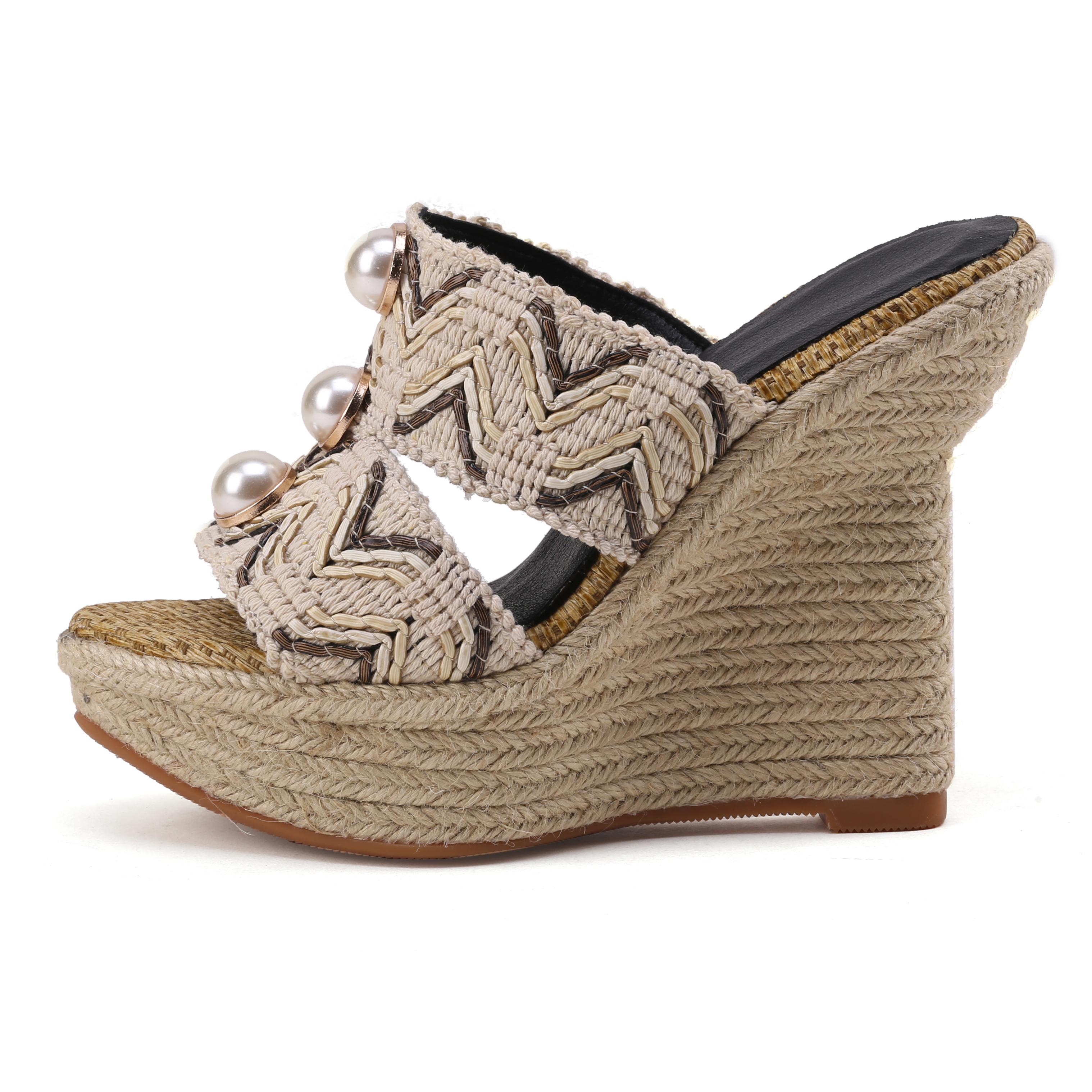9e8dec74d12 US  45 - 2018 summer high heels wedges platform peep toe women s shoes  slippers - www.ardenfurtado.com