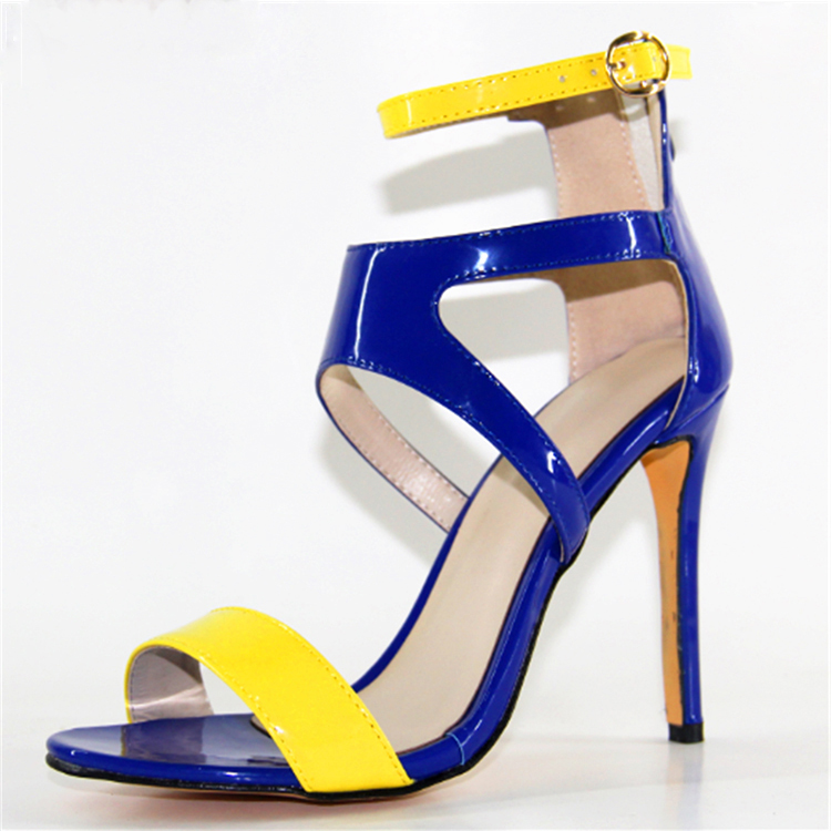 Blue And Yellow High Heel Shoes