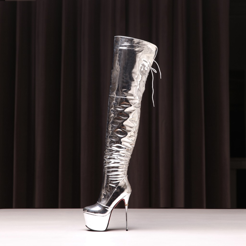 a6f108ac30e winter slip on high heels 16cm night club sexy stilettos round toe platform  evening party shoes plicate over the knee boots pleated silver boots woman