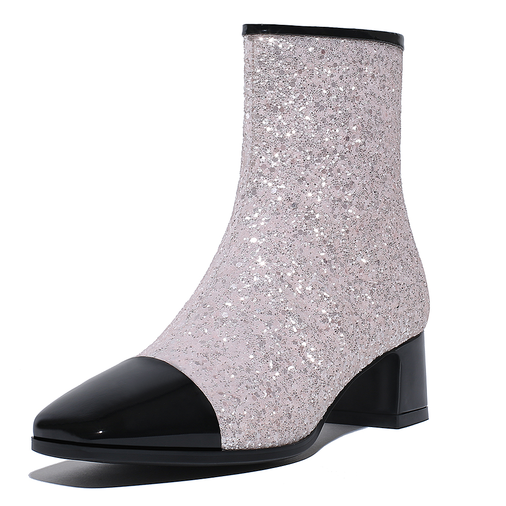 124575d28b7 2018 autumn winter chunky heels fashion ladies glitter ankle boots square  toe bling bling matin boots