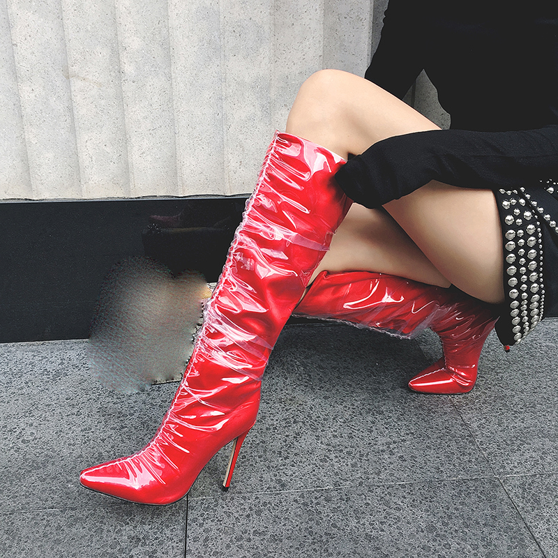 fd125cfc9ea 2018 spring autumn winter red silver stilettos knee high boots big size  high heels 10cm fashion shoes