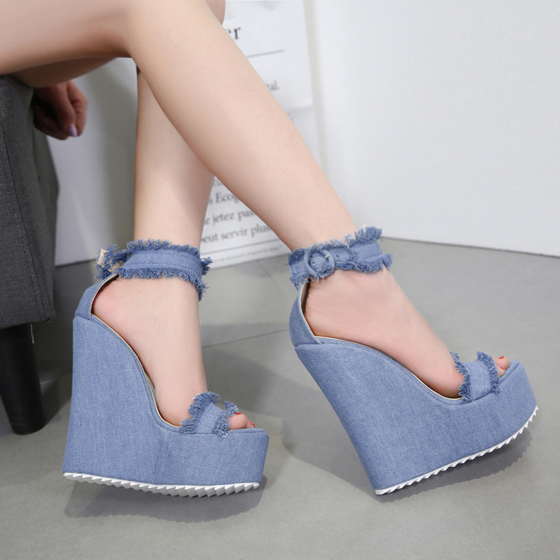 7c5b664d2e0 US  47 - 2018 summer high heels platform wedges ankle strap blue jeans  denim sandals shoes for woman - www.ardenfurtado.com