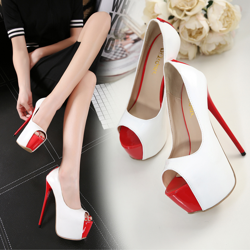 Shoes Summer Heels Peep 2018 Toe Autumn Platform White Party Ladies Evening Extreme 16cm Stilettos Spring High gyY6f7b