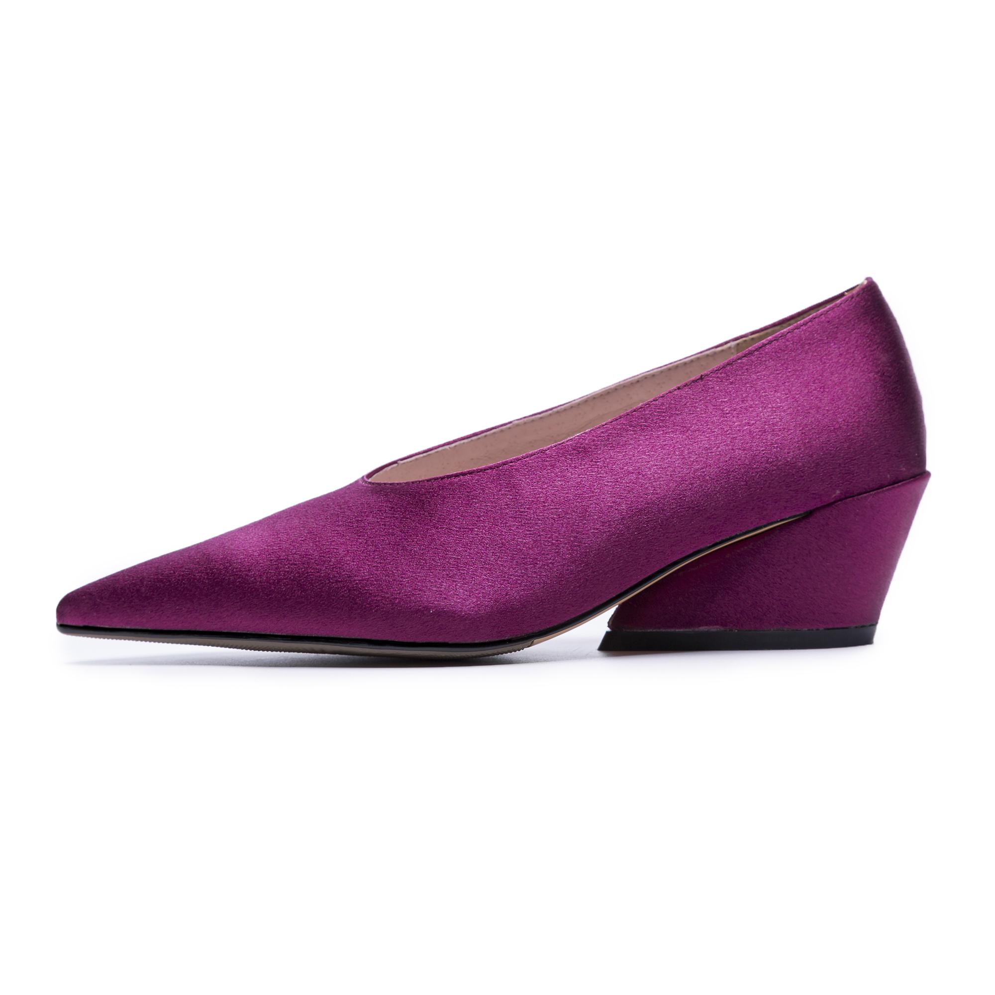 Us 48 2018 Spring Autumn Slip On Black Satin Cloth Purple Wedges
