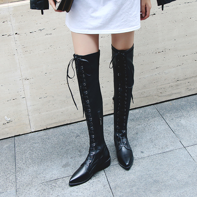 b0370c5da US  61 - motorcycle boot 2018 winter genuine leather over the knee boots  pointed toe cross tied Stretch boots casual thigh boots -  www.ardenfurtado.com