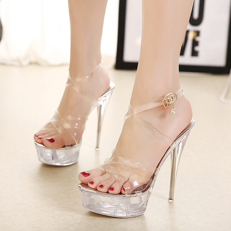 US  45 - extreme high heels 14cm platform clear pvc fashion ankle strap  Slingback sandals shoes for woman ladies evening party shoes Bridal Sandals  ... e16e1e66bdd2