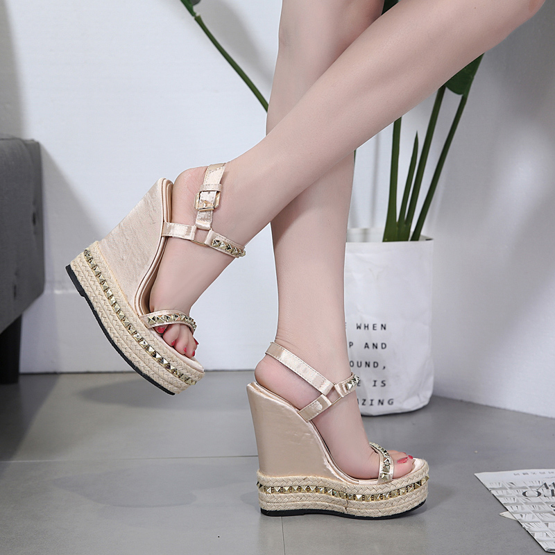 US  45 - Cheap sandals Gold Evening Shoes rivets platform wedges Sandals  fashion high Heels gladiator casual Glitter Shoes - www.ardenfurtado.com dde2c12231dd