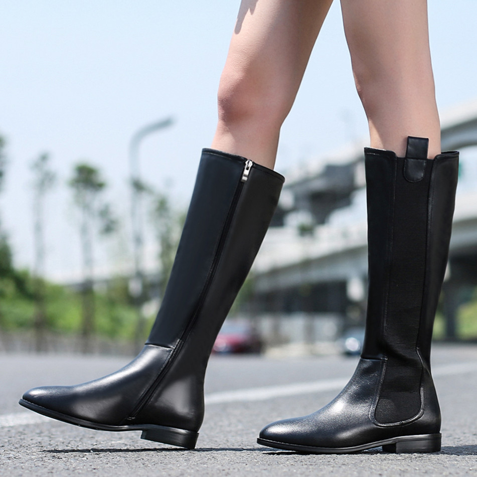 Us 61 Popular Fashion Genuine Leather Knee High Boots Cheap Black Flat Boot Suede 2cm Round Toe Knight Shoes Woman Ladies