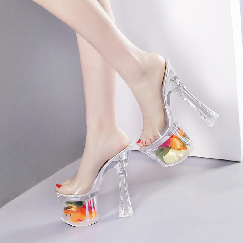 b4c7801a49a transparent clear pvc flowers crystal heels platform slippers