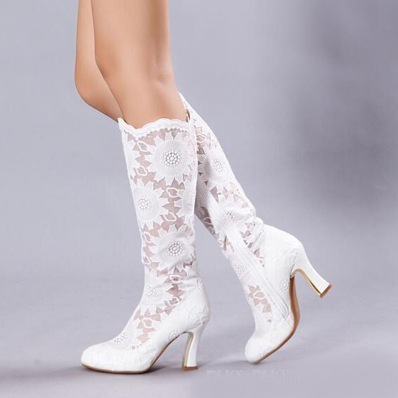 4ee776738571b white wedding boots shoes chunky heels sexy lace knee high boots round toe  big size