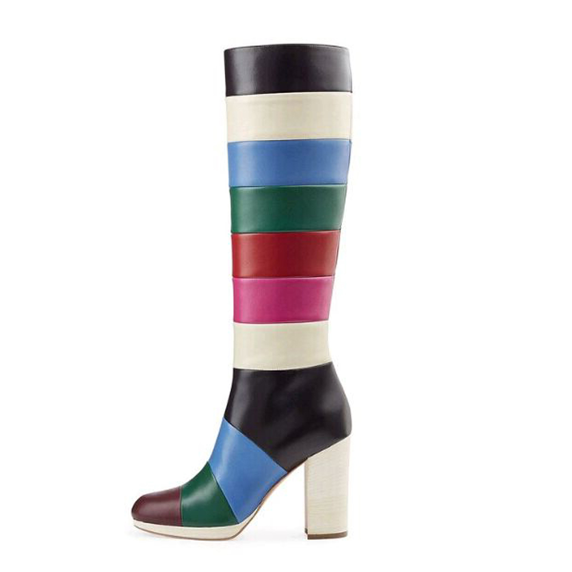 870aabf81 US  108 - 2018 winter fashion rainbow under knee high boots chunky heels  striped boots cheap women s shoes - www.ardenfurtado.com