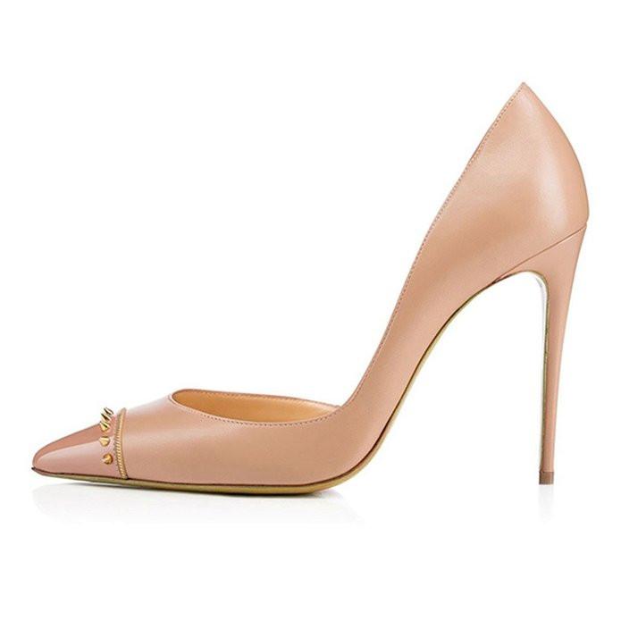 b7cb8d5a93d US  49 - 2018 summer high heels 12cm rivets nude pumps pointed toe pumps  shoes for woman ladies - www.ardenfurtado.com
