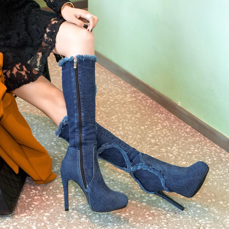 67b252191f00 US  45 - Arden Furtado 2018 spring autumn platform high heels knee high  boots round toe sexy stilettos party shoes ladies blue jeans denim ...