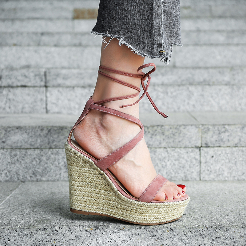 02fe0596b47 US  48 - 2018 summer high heels 12cm platform peep toe ankle strappy cork wedges  sandals casual shoes woman - www.ardenfurtado.com
