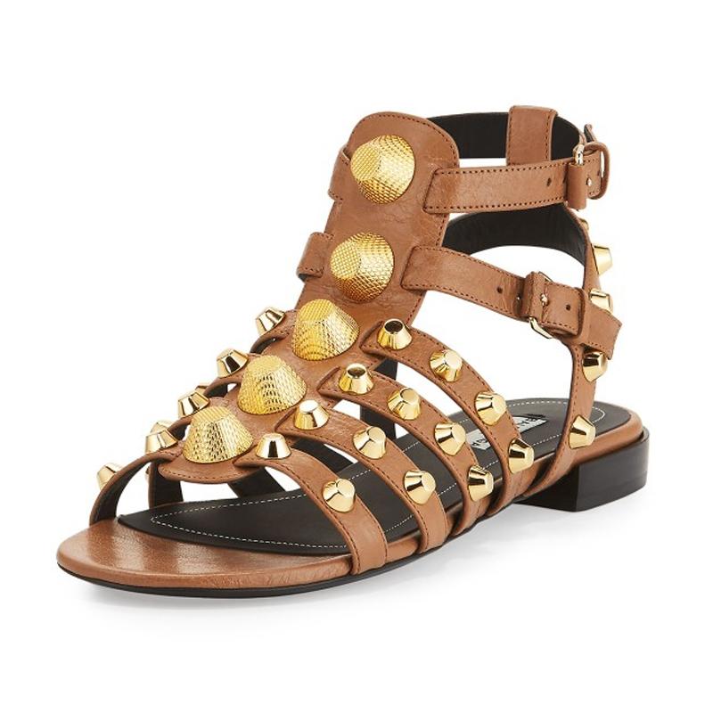 1e3c7e7318b US  57 - 2018 summer flat sandals rivets woman shoes ladies genuine leather  fashion sandals - www.ardenfurtado.com