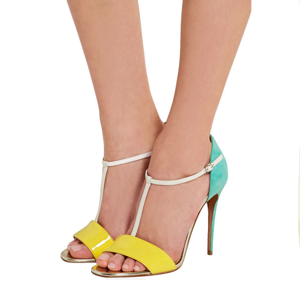 008627b015a5a US  48 - Arden Furtado fashion 2018 summer high heels thin heel sandals T-strap  mixed colors stilettos shoes for woman buckle party shoes ...