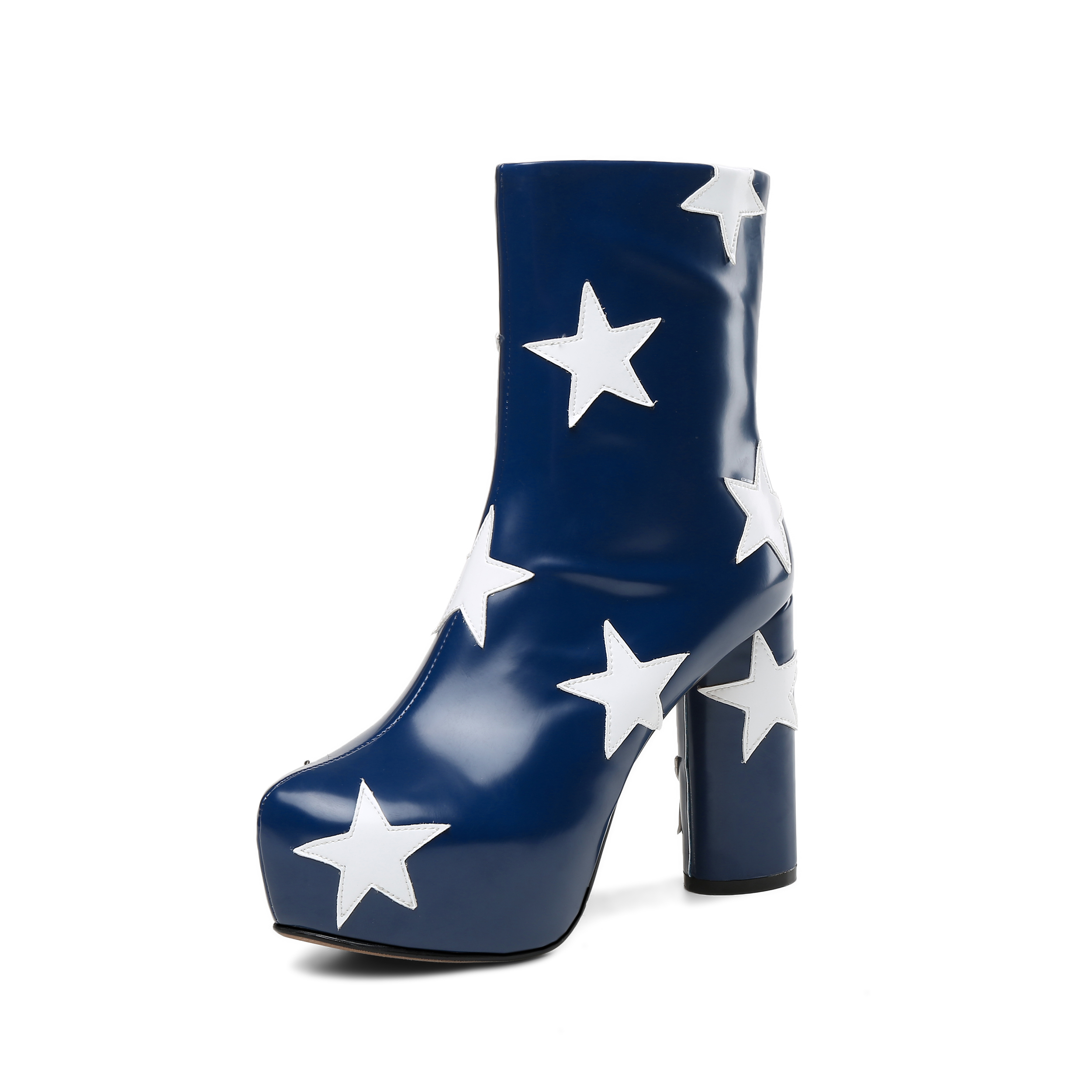 784aff279f2 US  59 - Arden Furtado winter autumn zipper chunky heels 12cm boots  platform round toe stars woman shoes ladies mid calf boots genuine leather  shoes drop ...