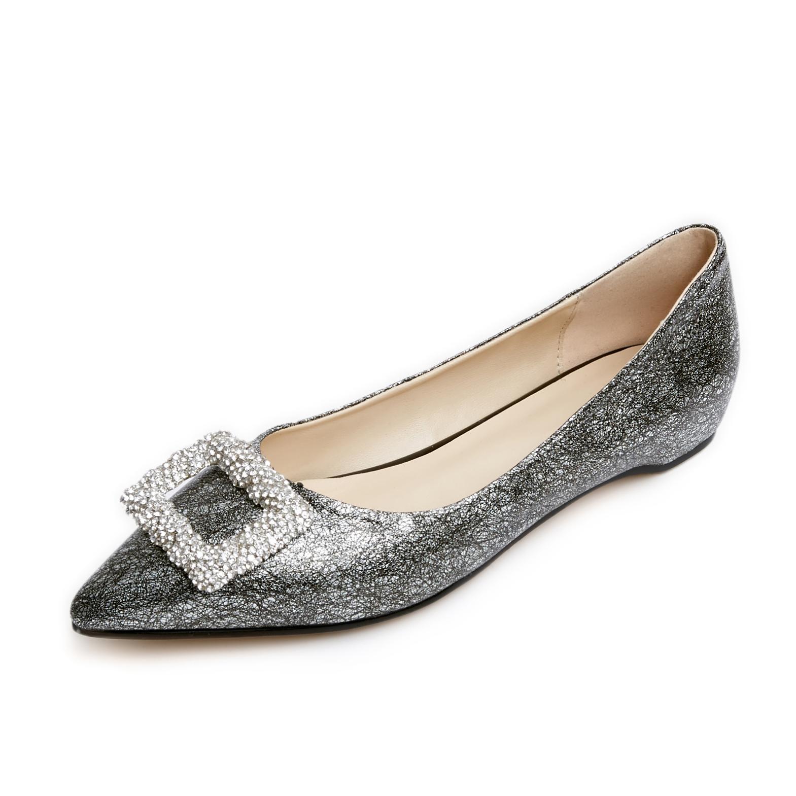 US  48 - Arden Furtado 2018 spring autumn pointed toe woman shoes ladies  fashion crystal flats - www.ardenfurtado.com 196d0e65627f