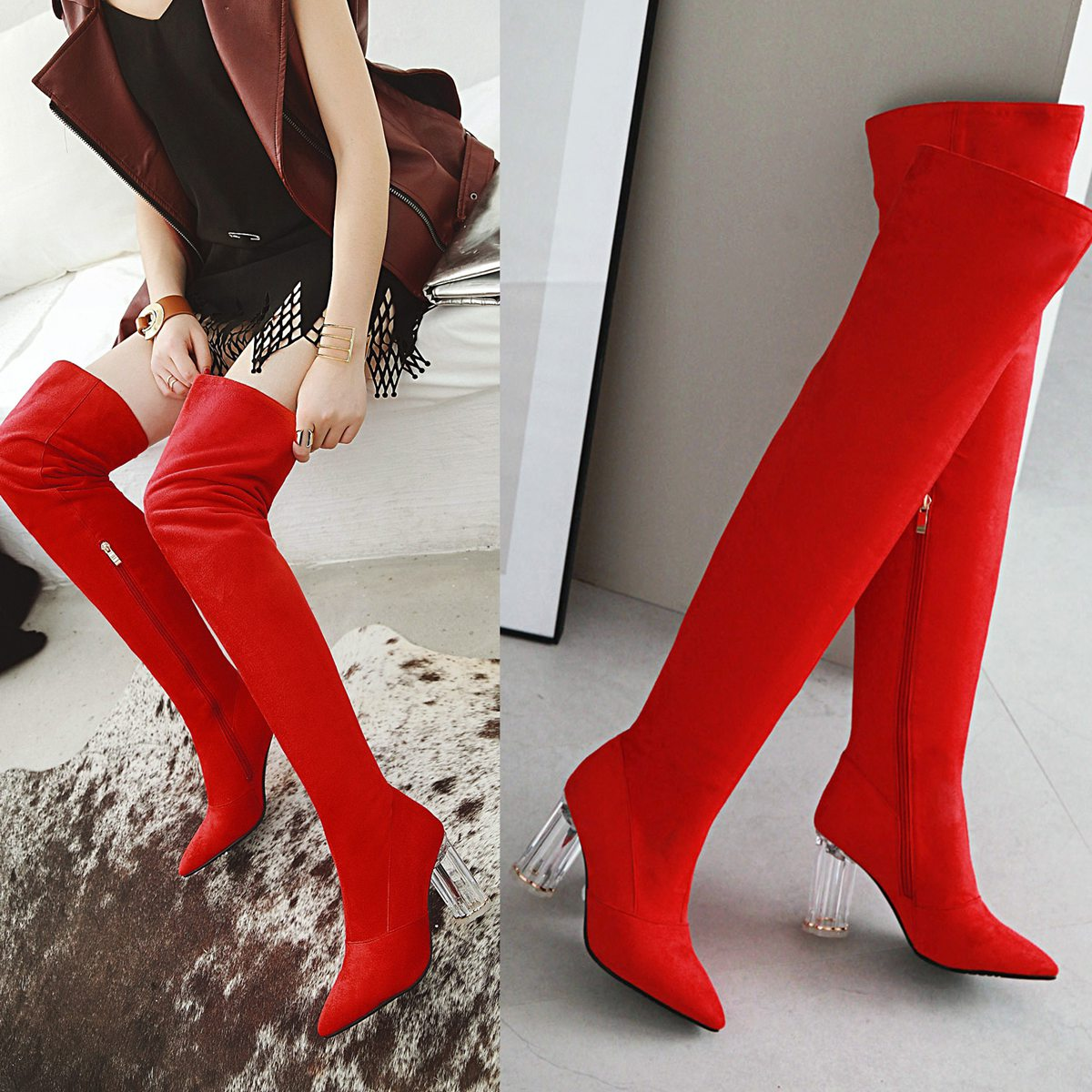 Winter 2018 style and boots European solid American new US60 rdQBWCoxe