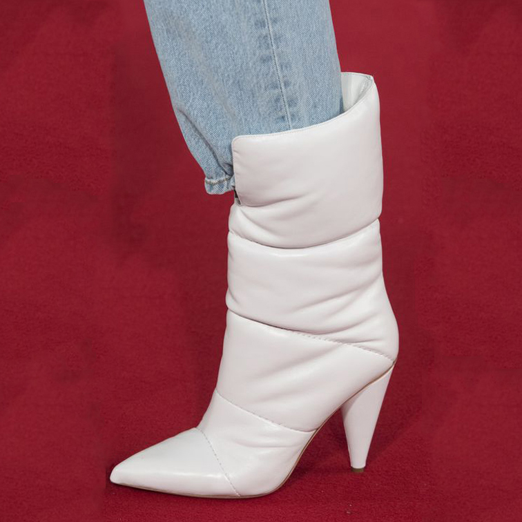 9ada00f61f94 US  61 - white boots sexy stilettos down boots high heels women s shoes  snow booties cone heels fashion ankle boots ladies pointy shoes Bottes  large size ...