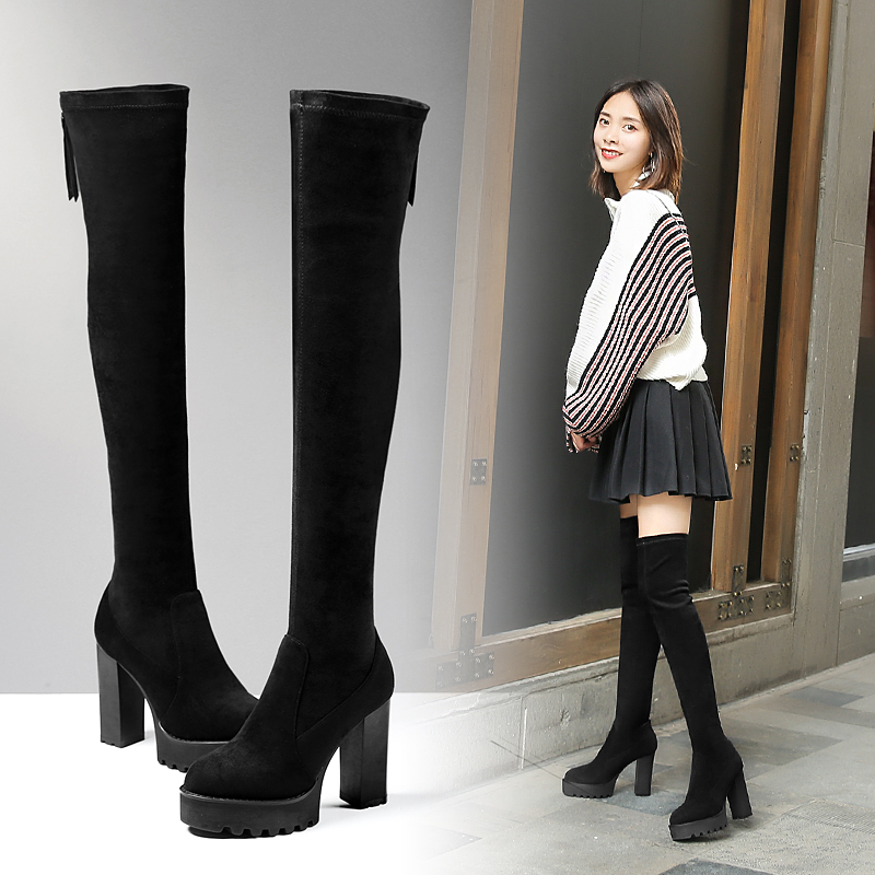 US  60 - Hot style women s shoes fall winter 2018 round head thick with  waterproof platform for women to look thin and long boots -  www.ardenfurtado.com a5f1643e483f