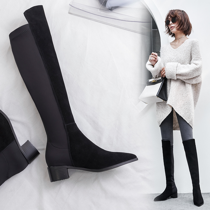bf3937b1afe US$ 60 - Autumn/winter 2018 women's shoes Europe station temperament lady  style top thick with leather and knee boots - www.ardenfurtado.com