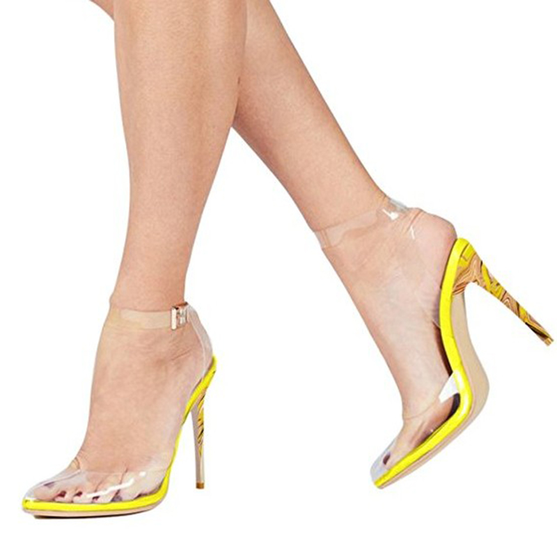 27e127a7f85 US  44 - 2018 stylish women s shoes bright-colored transparent summer  sandals party shoes elegant with buckled high heels white red yellow ...