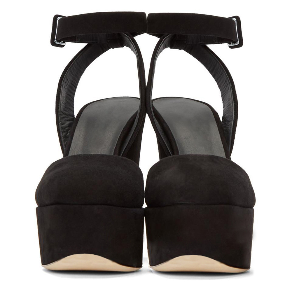 7e4df527b26e US  57 - Stylish 2018 summer women s shoes elegant pure color black suede  closed toe simple women s suede sandals platform waterproof heightening  thick high ...
