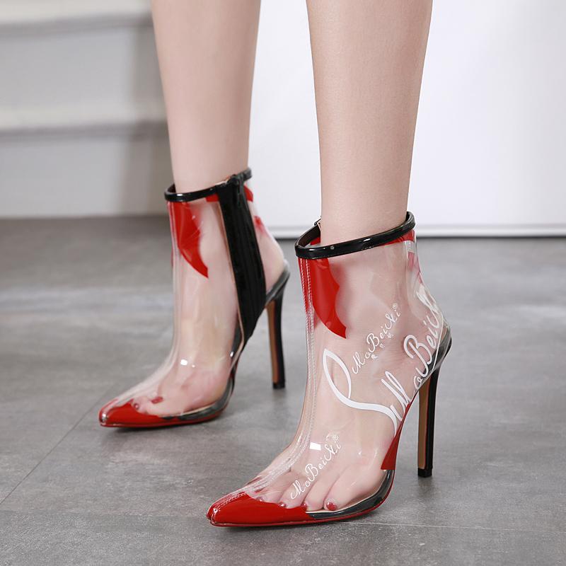 f2f09e24aae US  54 - Spring summer 2018 women s shoes short boots Korean version of  simple stilettos heels pointed white stiletto women s short boots  transparent color ...
