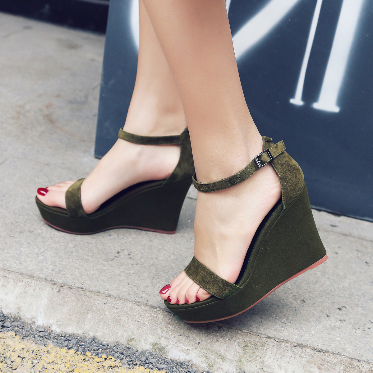 0d8292acba35 US  46 - 2018 European and American fashion style wedges party shoes army  green women s sandals with a word elegant belt of pure color simple heighten  ...