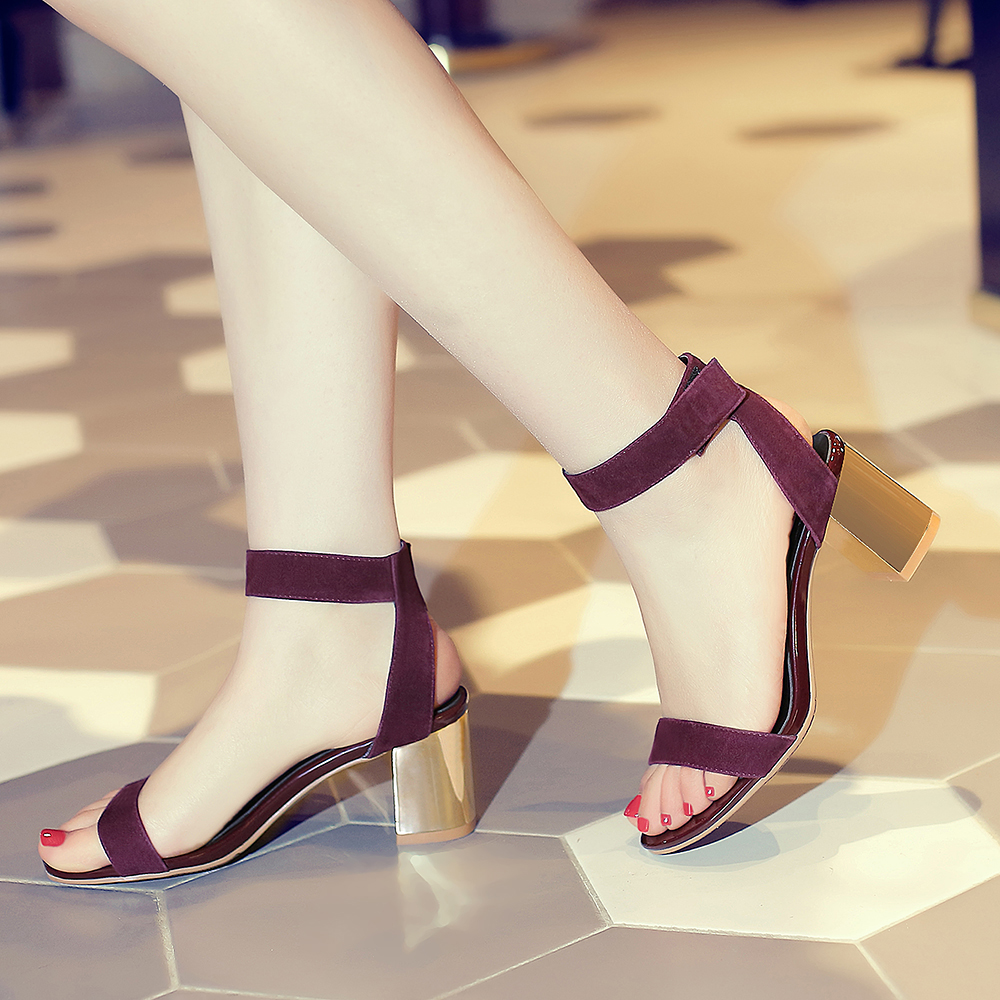 3fcff8f896a5a 2018 Summer elegant women's sandals thick with a word band hot style party  shoes wine red fashion bright-colored women's shoes buckle chunky heels