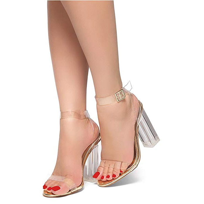 1f13d77e5afb8 US  58 - Fashion summer women s shoes 2019 sandals chunky heels elegant  buckle gold white consice transparent sandals - www.ardenfurtado.com