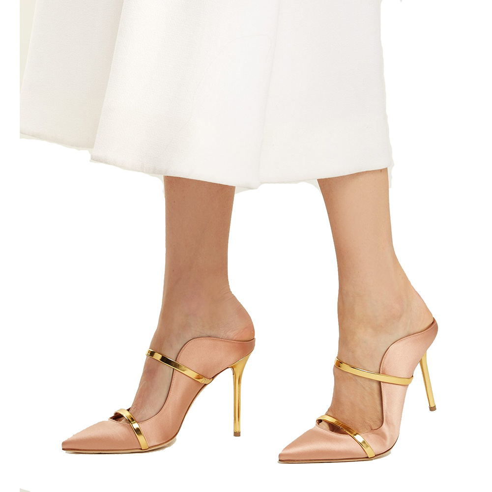 edbb6d591b US$ 56 - Hot style women's shoes Stilettos heels sexy Gold elegant leather  Narrow band Party shoes pointed toe mules 45 - www.ardenfurtado.com