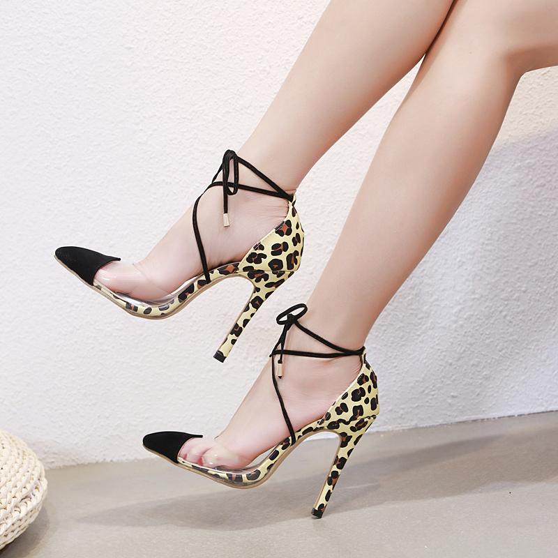 68116fbc12d3 US$ 48 - Fashion summer women's shoes 2019 sandals stilettos heels elegant  pointed toe leopard print party shoes consice lace up leather -  www.ardenfurtado. ...