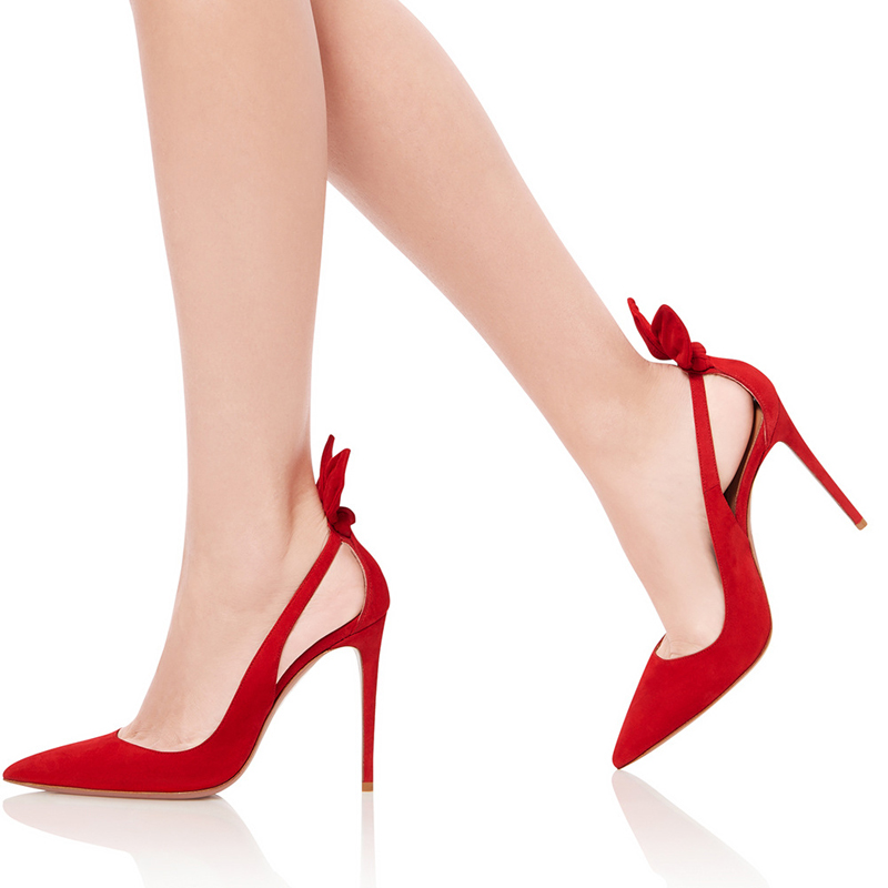 Lady 2019 Shoes On Butterfly Size Fashion Trend Big Summer Office Party Knot Red Slip Elegant Suede Sandals Stilettos Heels Women's nPkO0w8