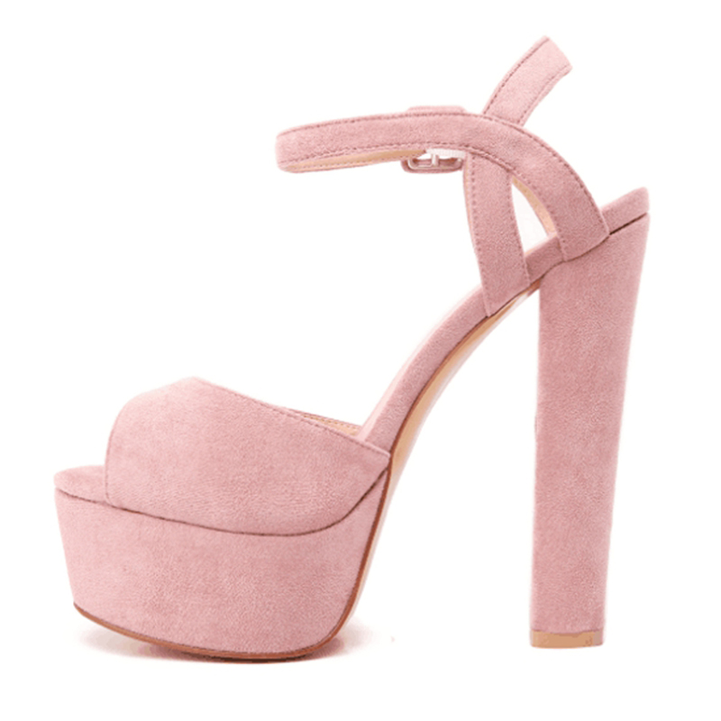 adc336502356 US  52 - Summer office lady 2019 fashion trend women s shoes pink brown  waterproof sweet chunky heels buckle sandals suede big size concise ...