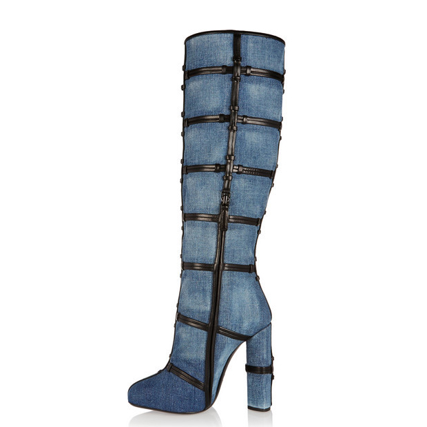 c43ec650b2f US  98 - Fashion gladiator women s shoes in winter 2019 pointed toe chunky heels  knee high boots blue denim jeans ladies boots mature big size shoes ...