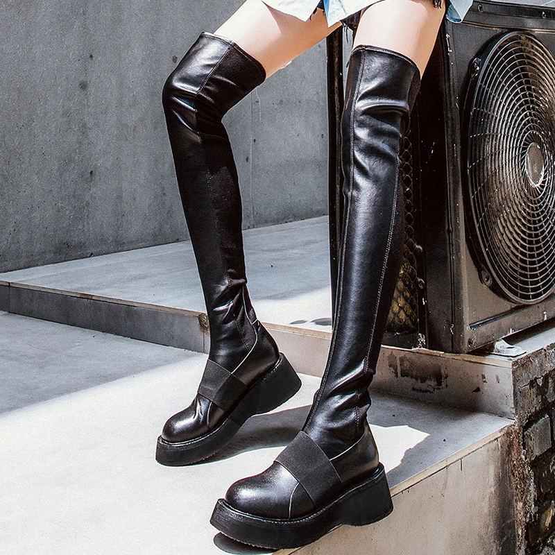 6f1d122471b6 US  62 - Fashion women s shoes winter 2019 round toe flat paltform boots  slip-on over the knee high boots wedges genuine leather shoes -  www.ardenfurtado. ...