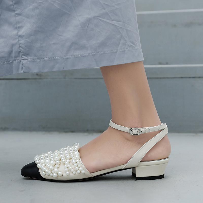 fd90bcf18 US  52 - Summer 2019 fashion trend women s shoes sandals narrow band buckle  elegant pearl ladylike temperament white sweet concise -  www.ardenfurtado.com