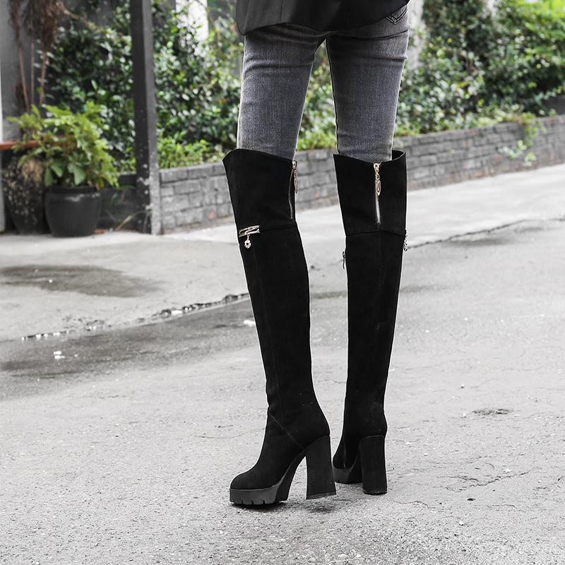 5794fa7a7c06f US$ 63 - Fashion metal decoration platform over the knee high boots in  winter 2019 zipper chunky heels round toe classics black matte genuine  suede boots ...