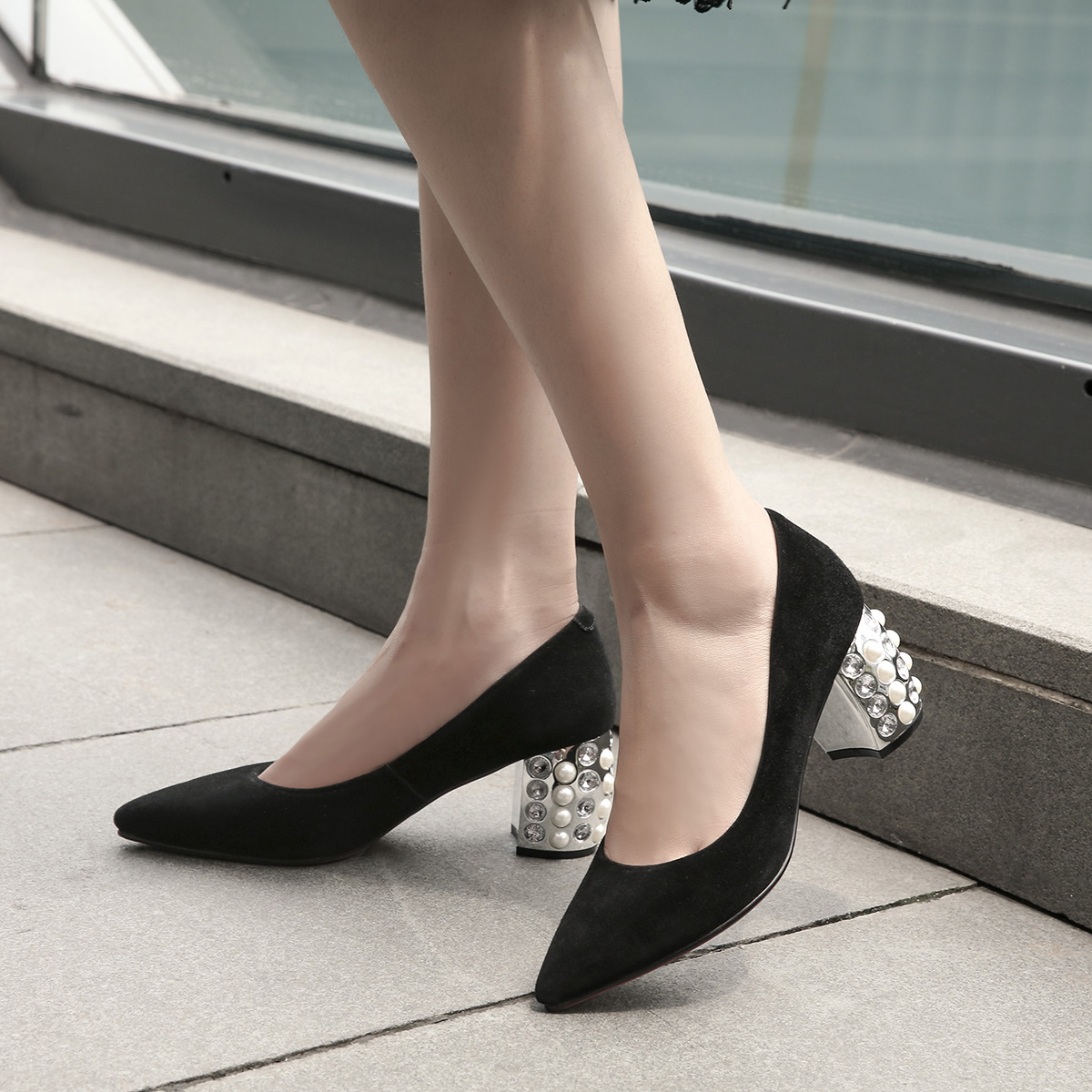 f528063e0c9f US  53 - Spring and autumn 2019 fashion women s shoes pointed toe slip-on pumps  crystal rhinestone chunky heels concise mature elegant - www.ardenfurtado.  ...
