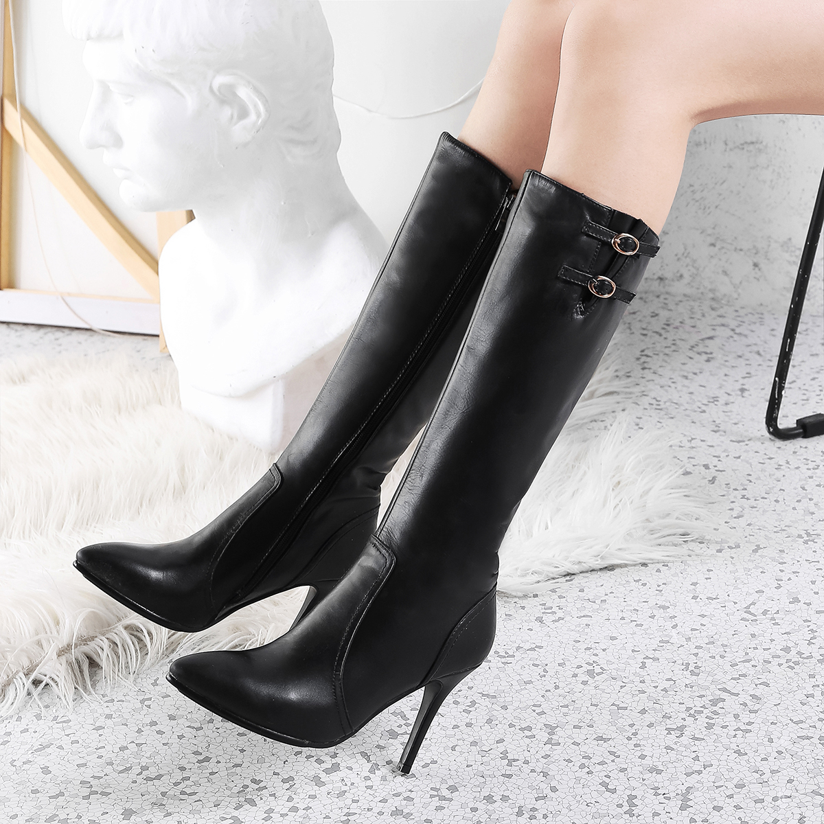 e9837964f87 Arden Furtado fashion women's shoes in winter 2019 pointed toe stilettos  heels zipper knee high boots black elegant pure color